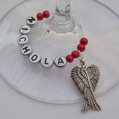 Large Angel Wings Personalised Wine Glass Charm